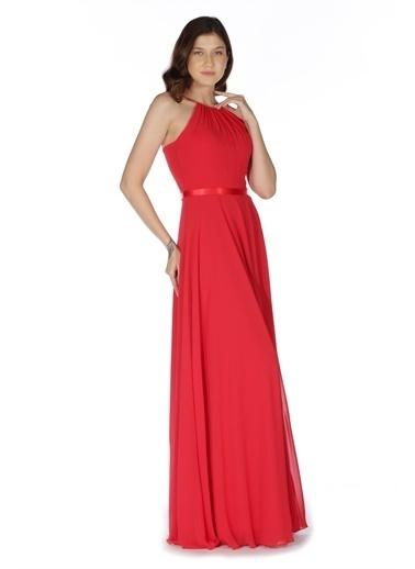 Carmen Saten Bantlı Uzun Abiye Elbise Kırmızı